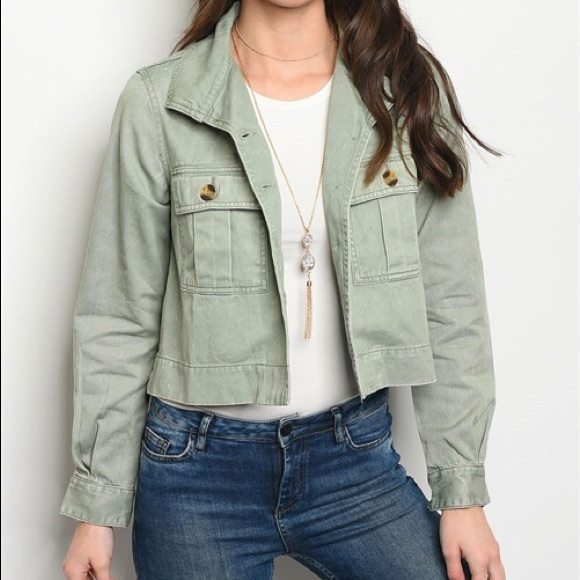 e1141ddb38 Faded Olive Cropped Utility Jacket
